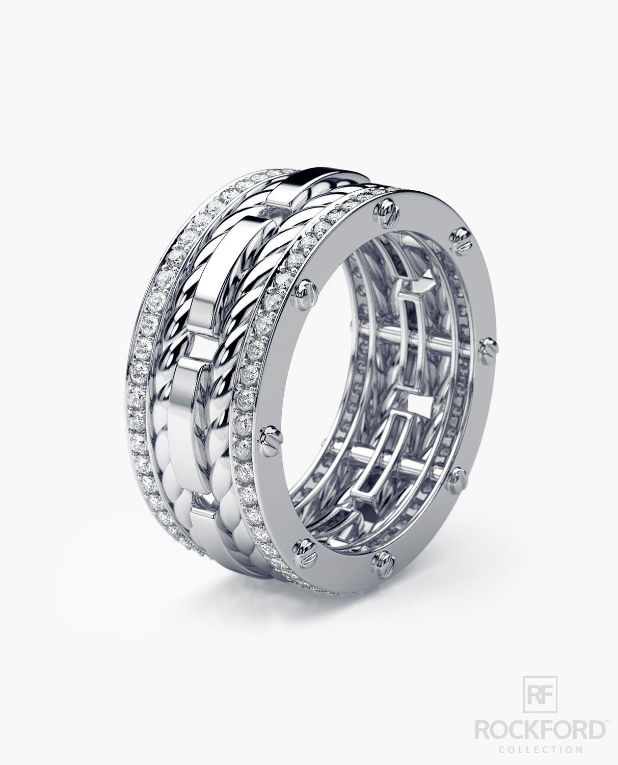 ROPES Mens Gold Wedding Band with Diamonds My husband