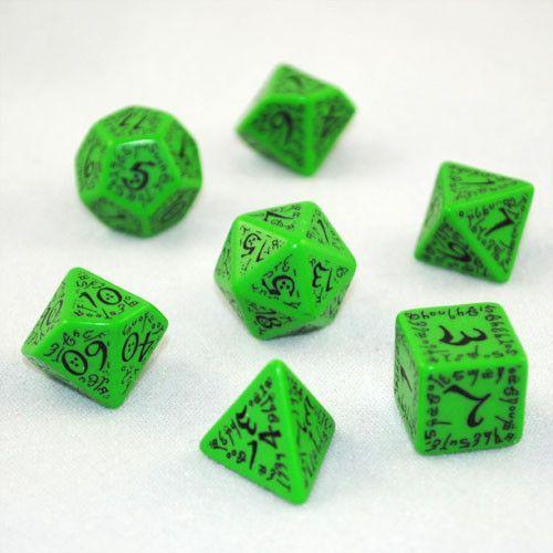 Green /& black FOREST dice set by Q-workshop for D/&D RPG Warhammer Elvish