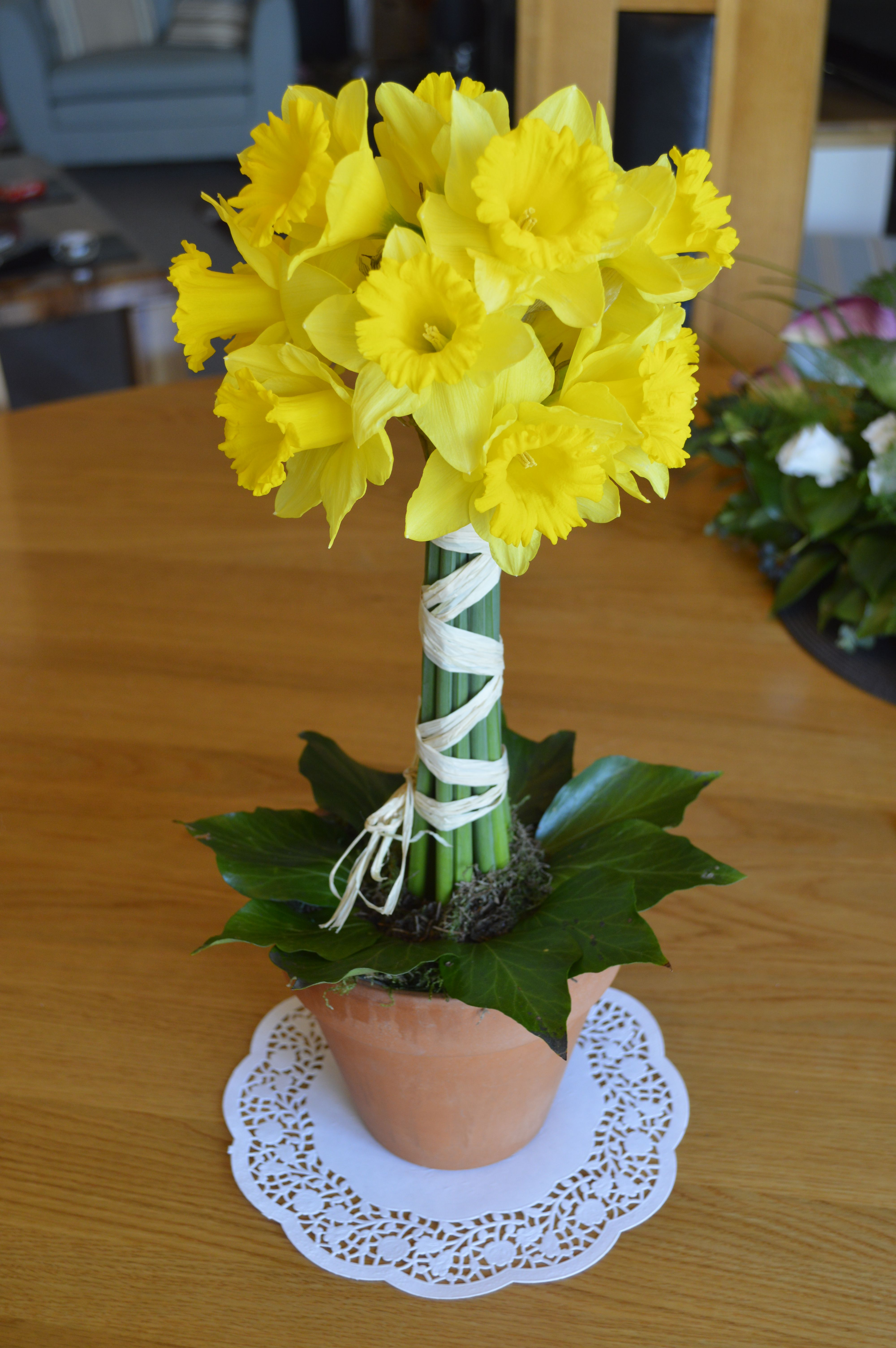 Daffodil Tree Topiary Design Spring Wedding Table Centrepiece