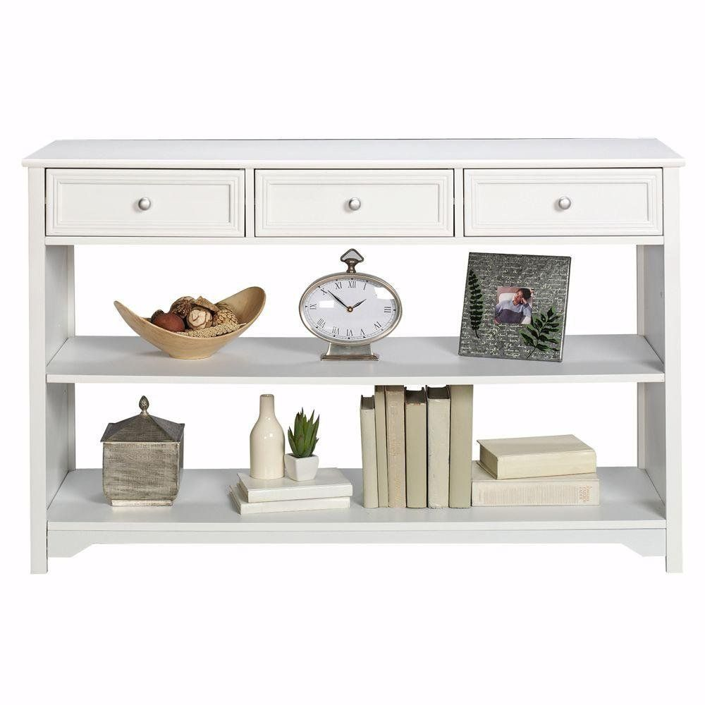 kitchen console table Amazon com Oxford 47 Inch White Three Drawer and Open Shelf Console Table