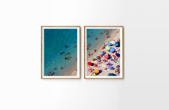 2-Piece Set Large Umbrella Beach Poster Print // Aerial Beach Photography // Sunbaking Summer // Large Beach Prints // Beach People #largeumbrella