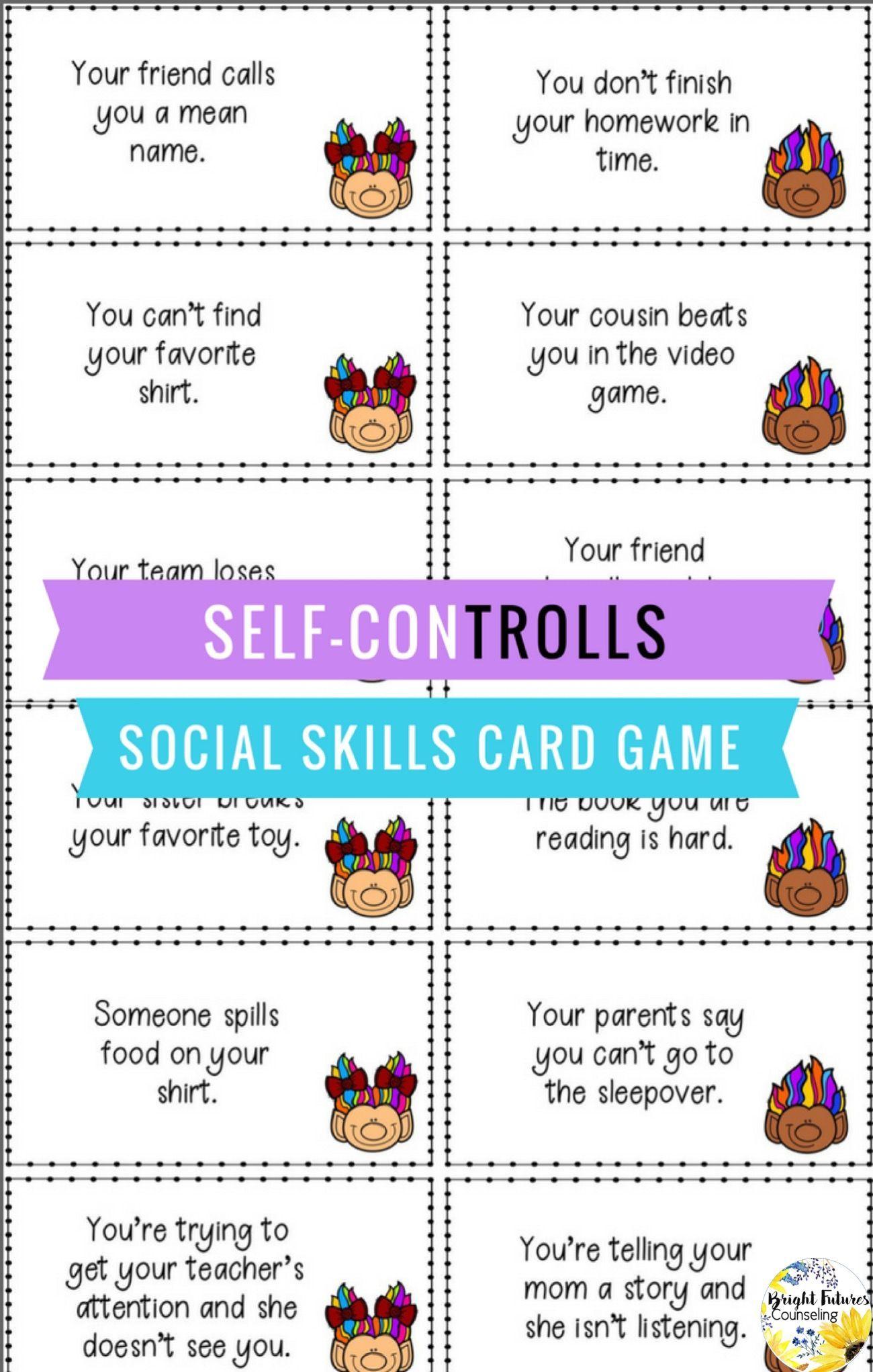 Self Control Social Skills Card Game Self Controlls