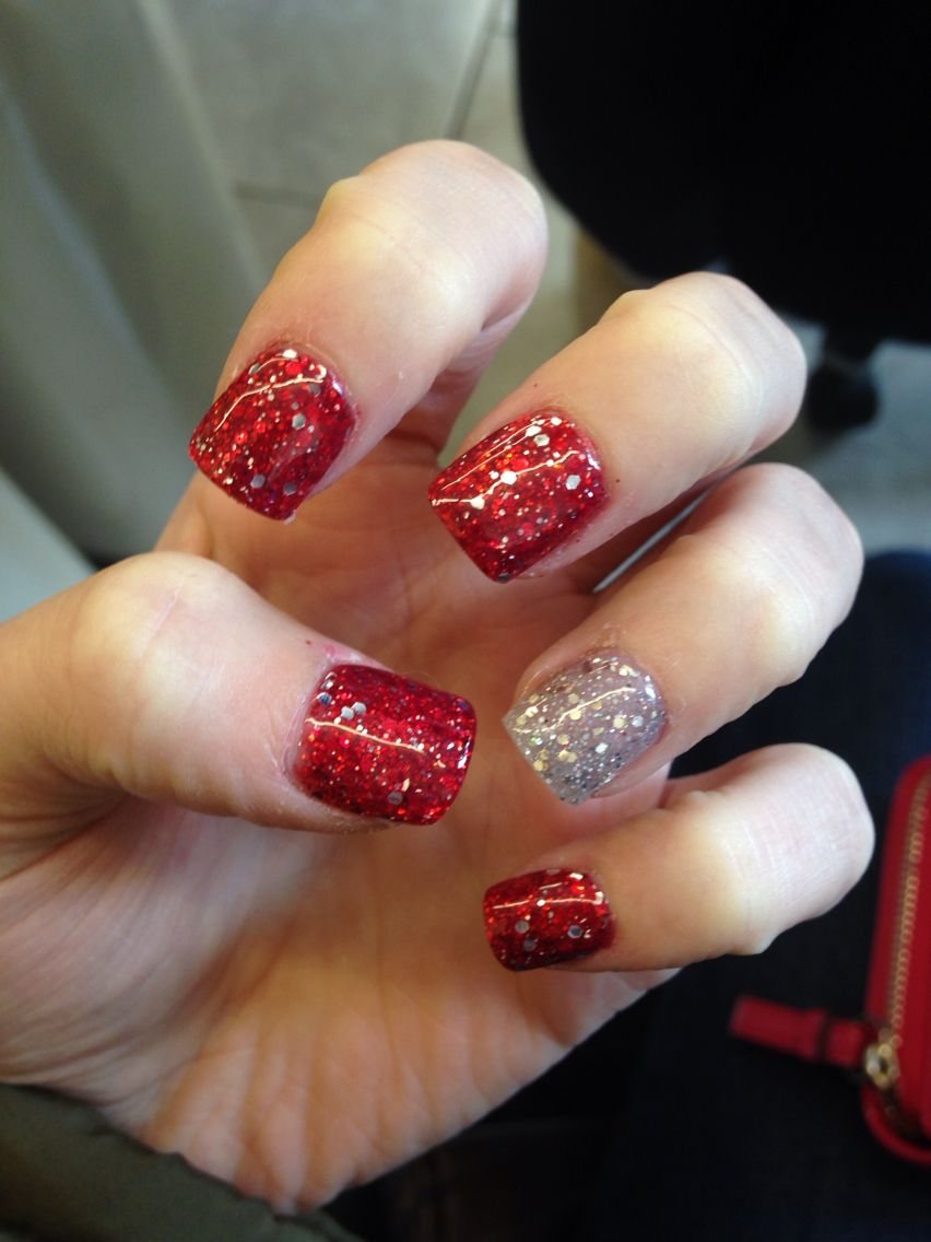 Silver and red acrylic nails for the dance!!! | nails | Pinterest