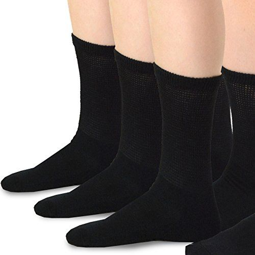 TeeHee Diabetes Bamboo Crew Socks 3Pack Made in USA Black Medium Size *** Check out this great product.(This is an Amazon affiliate link)