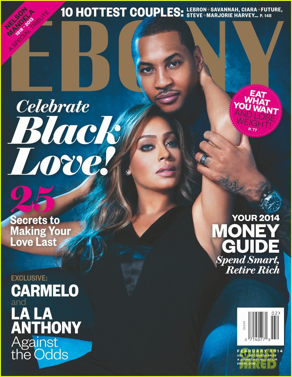 La La and Carmelo Anthony.on the cover of Ebony's February ...