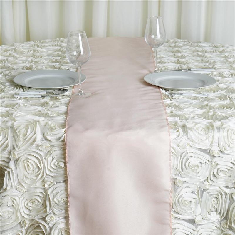 12 X108 Blush Rose Gold Polyester Table Runner In 2020 Wedding Reception Table Decorations Flower Table Decorations Table Runners