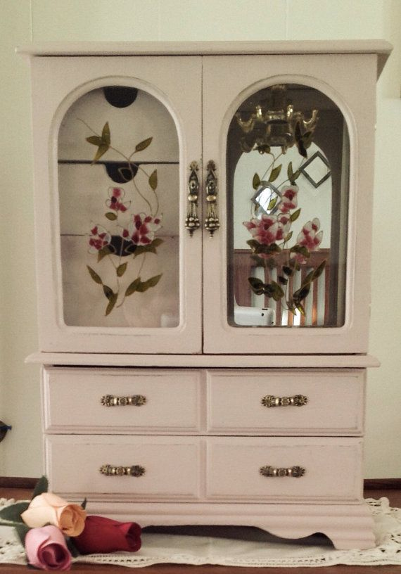 Items Similar To Tall Armoire Tabletop Jewelry Box/ Vintage/Up Cycled On  Etsy