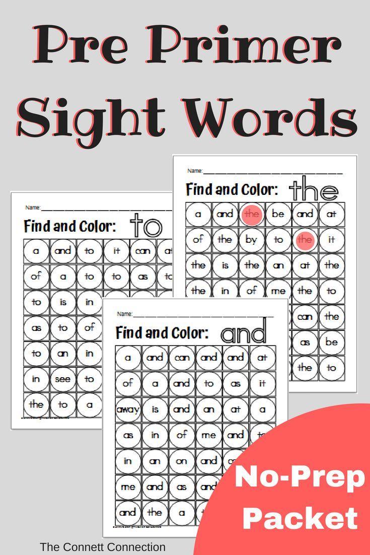 Preprimer noprep sight word dab it sheets kindergarten second