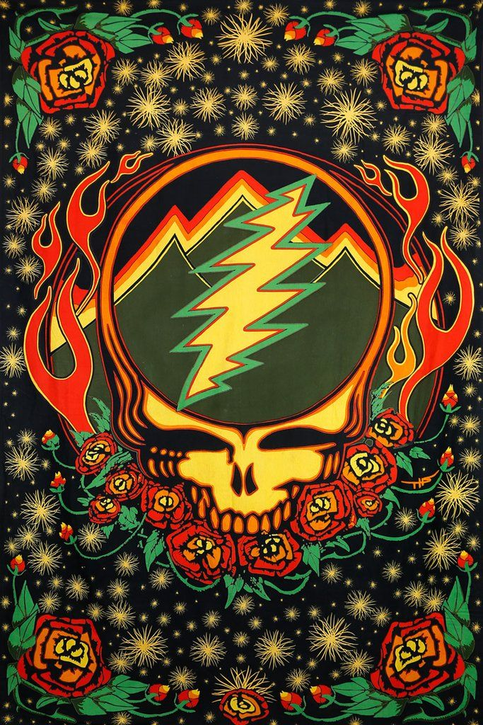 3D Greatful Dead Steal Your Face Scarlet Fire Tapestry