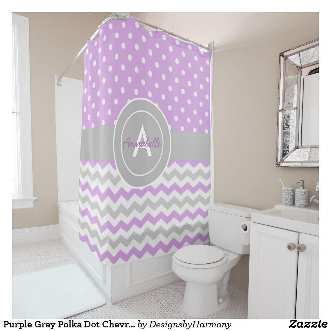 Purple polka dot curtains - Purple Gray Polka Dot Chevron Shower Curtain