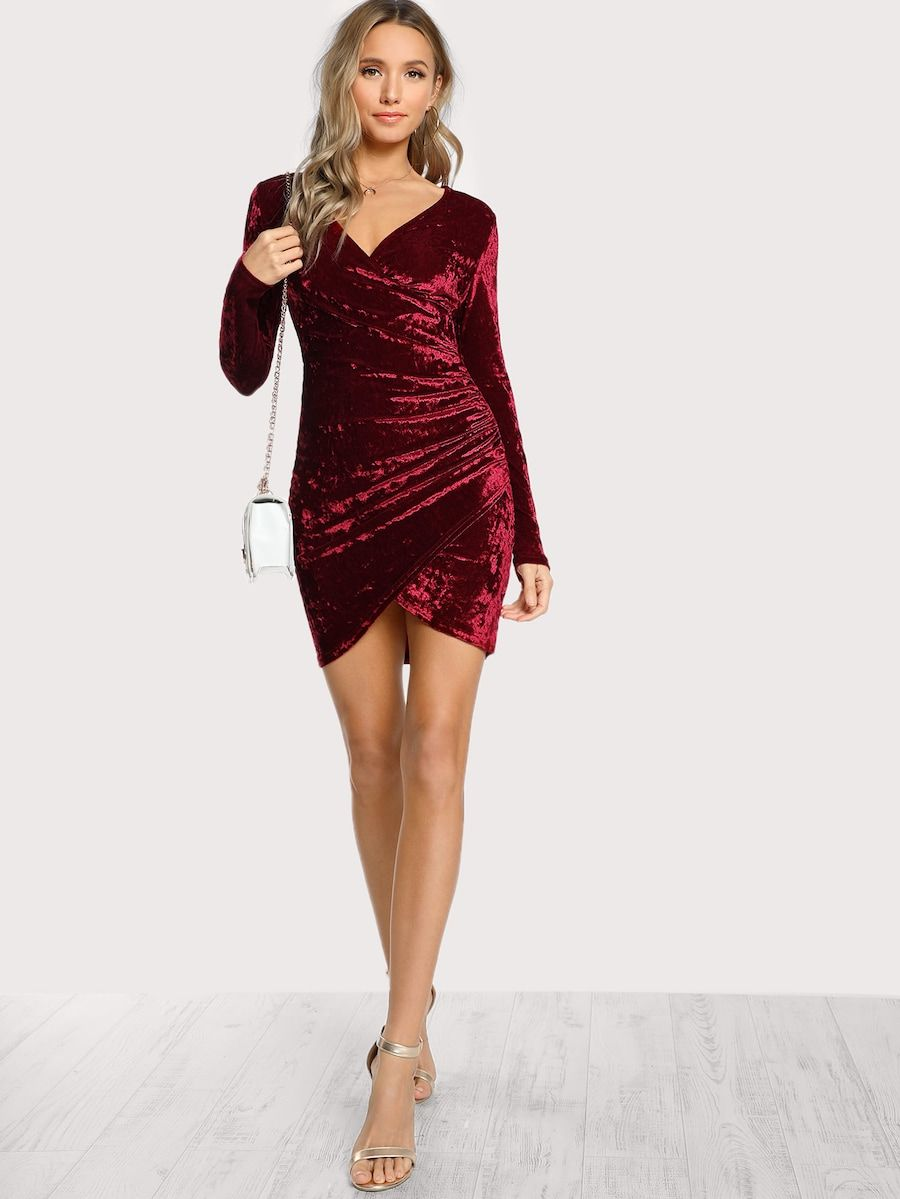 c28400ca95e2 Ruched Overlap Surplice Crushed Velvet Dress -SheIn(Sheinside)