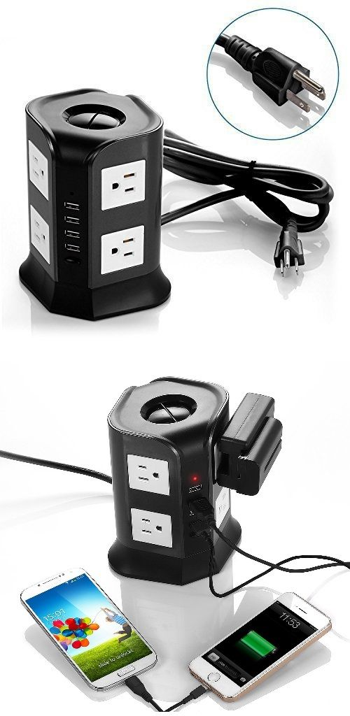 Pure Black Power Strip with 2.1A 4 USB Charging Ports and 6.5-Feet Cord