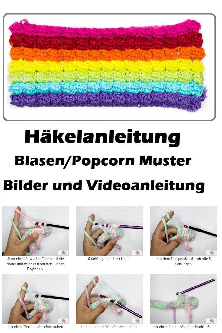 Häkeln lernen: Popcorn/Blasen Muster - Bobble Stich Anfänger ...