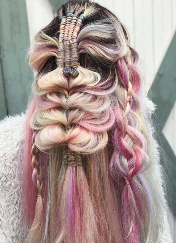 23 Unique Pastel Balayage Braiding Hairstyles Ideas 2018