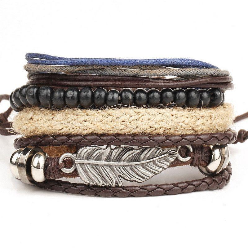 Trendy Women Wide Leather Crystal Rhinestone Beads Wristband Bracelet Jewelry