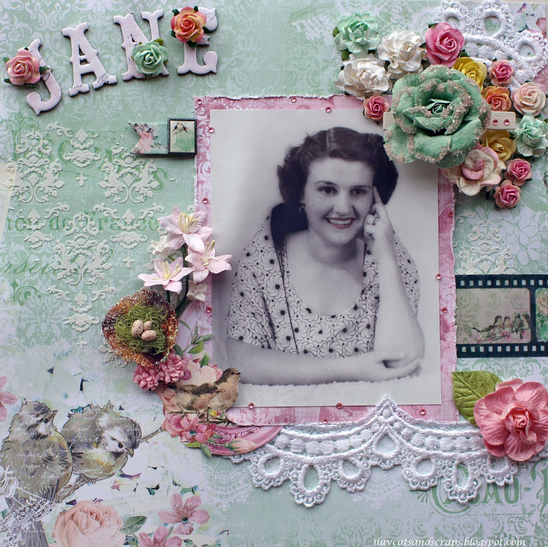How to make scrapbook vintage - Jane New Bo Bunny Madeleine Collection Scrapbook Com Pastel Florals And