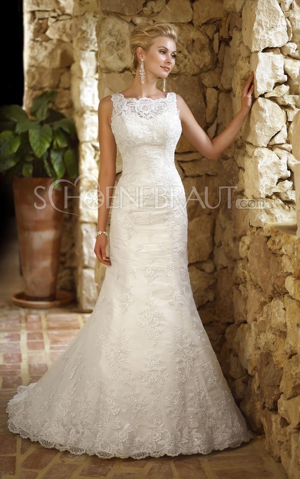 Applikation Organza Meerjungfrau Hochzeitskleid mit Pinsel-Schleppe ...