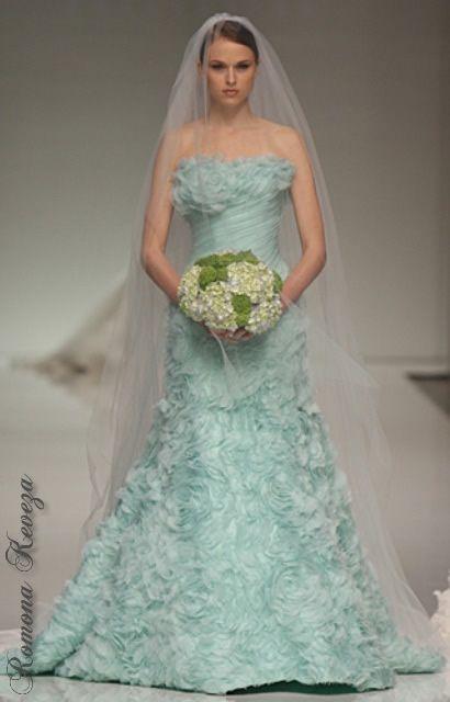 Vestido de novia azul turquesa