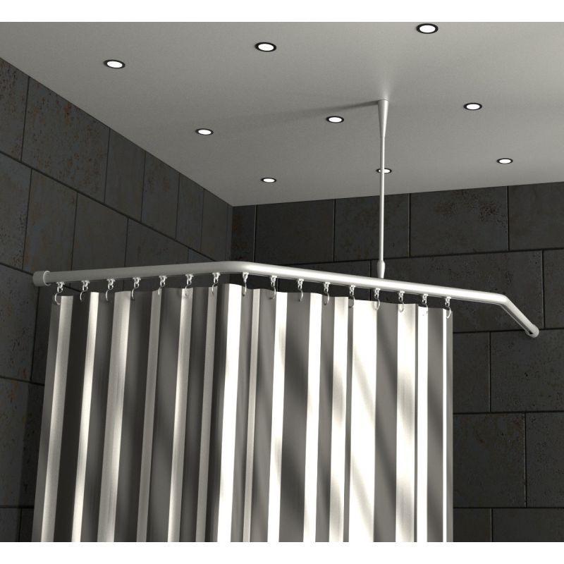 Duschvorhangstange 5Eck Aluminium mit Innenlaufrohr (mit