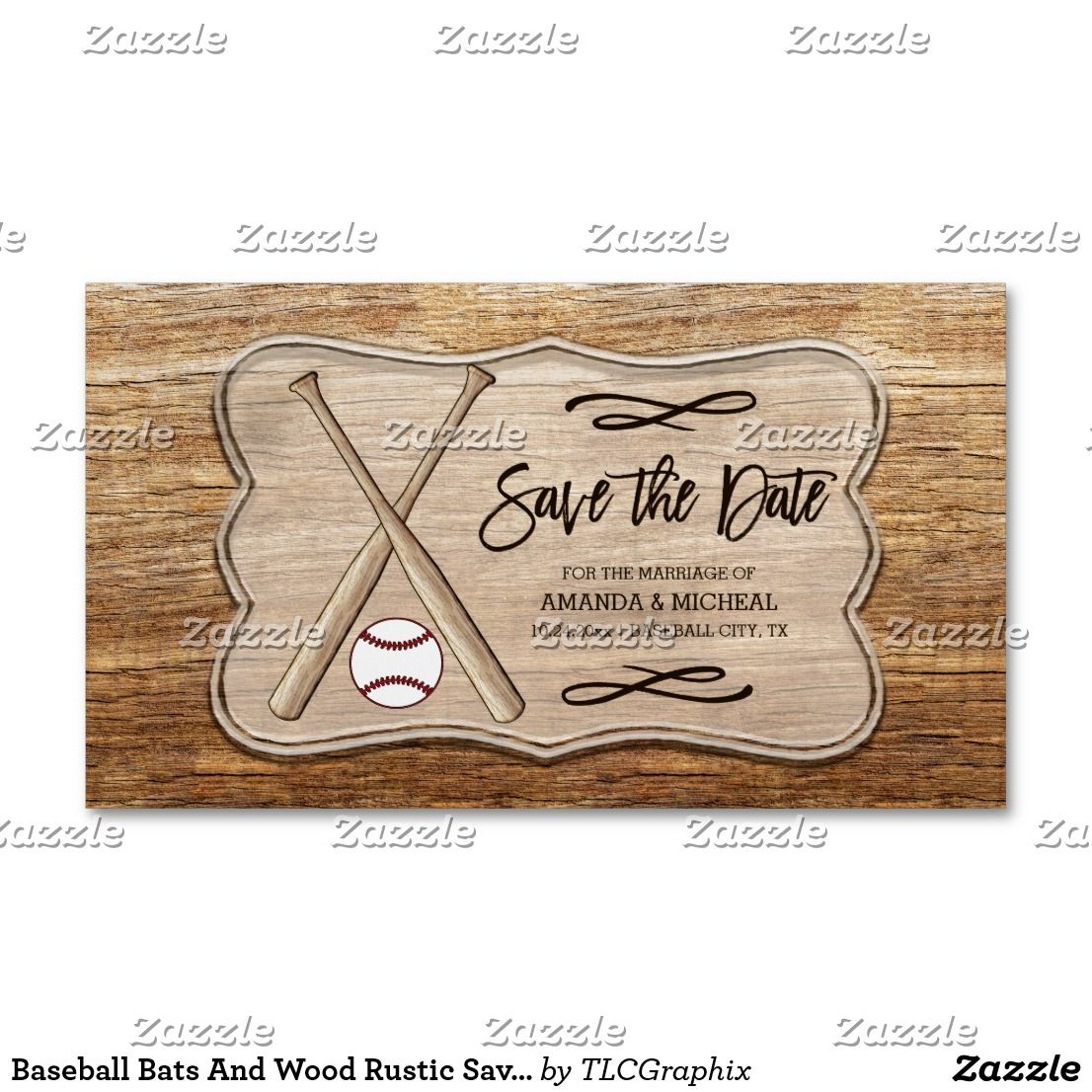 Baseball Bats And Wood Rustic Save The Date Business Card Magnet