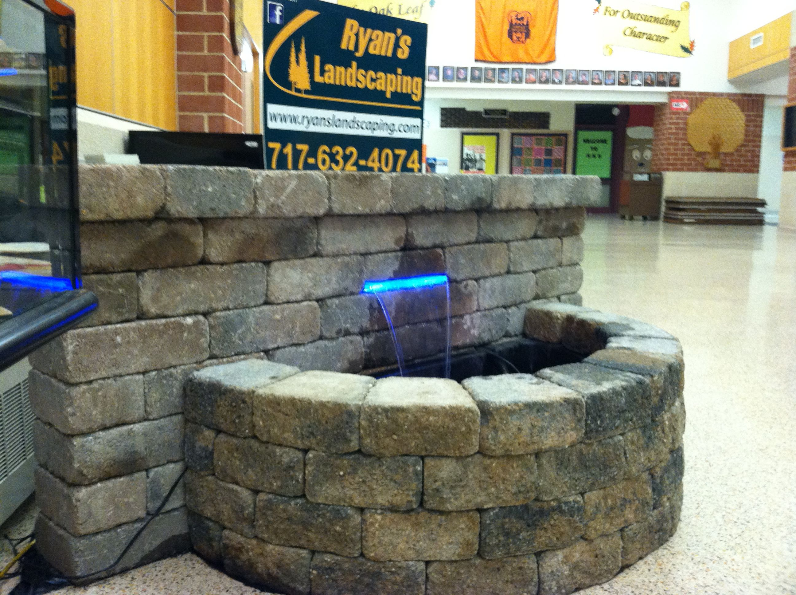 The water feature we set up for Hanover High School when we helped them install fountains for their school play.