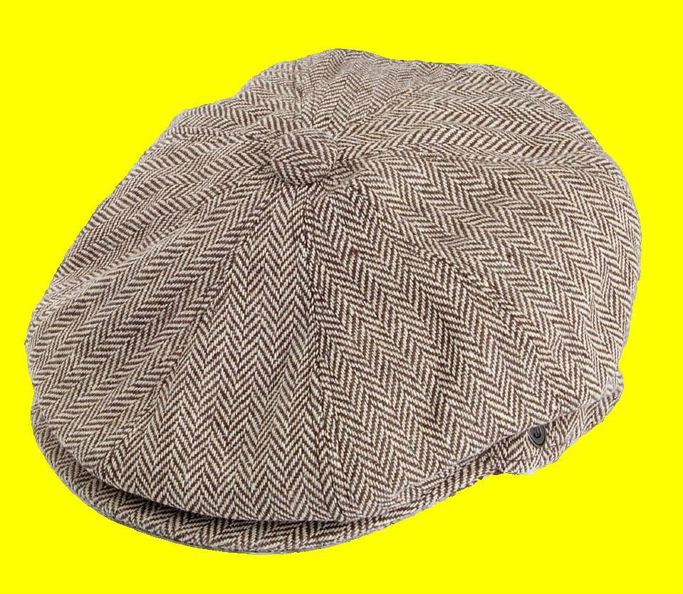 bc56ada52c Details about Brown Flat Cap 8 Panel Newsboy Baker Boy Gatsby Peaky ...