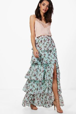 23f83200784d #boohoo Large Floral Ruffle Tiered Maxi Skirt - bluebell #Everly Large  Floral Ruffle Tiered Maxi Skirt - bluebell
