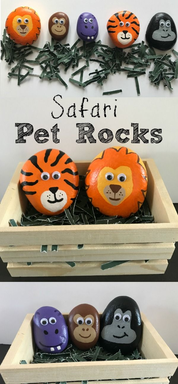 Safari Pet Rocks is part of Painted rock animals, Rock art, Painting crafts, Painted rocks, Pet rocks, Rock painting designs - activity was a couple weeks in the making  We collected rocks for a while before we were able to find animal headshaped rocks  I finally realized that you really just need to find roundish, smoothish rocks, and it will work  We did safari animals, because my son is obsessed with the zoo and wild animals right now  You could easily do farm or pet animals instead and personalize this craft to your child's interests  This is what you will need for this craft Rocks Paint Paintbrushes Cage for animals (I grabbed a very small wooden crate from Michaels it was only $1) Googly Eyes Clear, Protectant Spray Directions and Tips Google images of the animals that you want to paint to get an idea of how to paint it  Remember to keep it simple  You don't have to include every detail; I didn't even worry about the ears on my monkey and gorilla  Paint the rocks white first  This will make it so the color is more vibrant with less coats of paint  If you make a mistake, you can typically use a wipe, and wipe it off quickly without much mess or destruction  If you use googly eyes, put them on last  You will want to spray the protectant layer on before hotgluing the eyes on  Of course, you can paint eyes on and ditch the protectant spray  I like the look of googly eyes and the finished look of protectant spray  This is a longer, more involved craft, but I loved making it! My son was so ecstatic to have the zoo come to him  I hope you kids love their pet rocks!