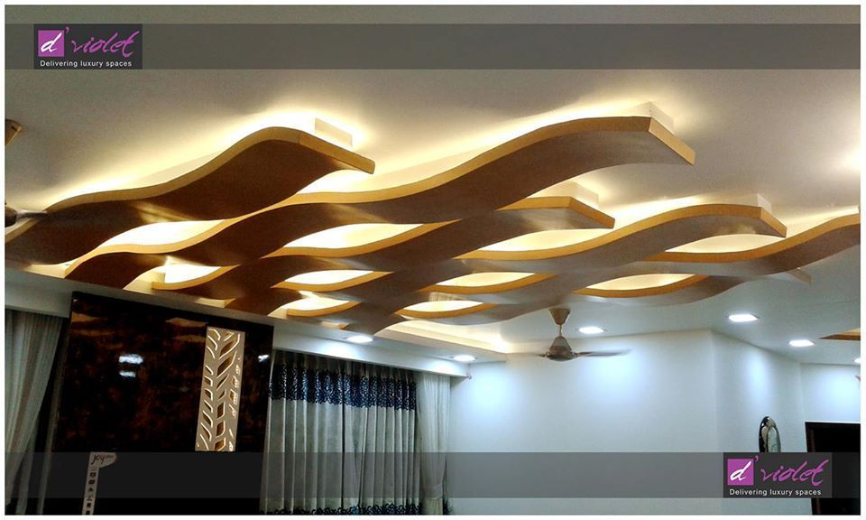 Wooden Abstract Wavy Designed False Ceiling Design with ...