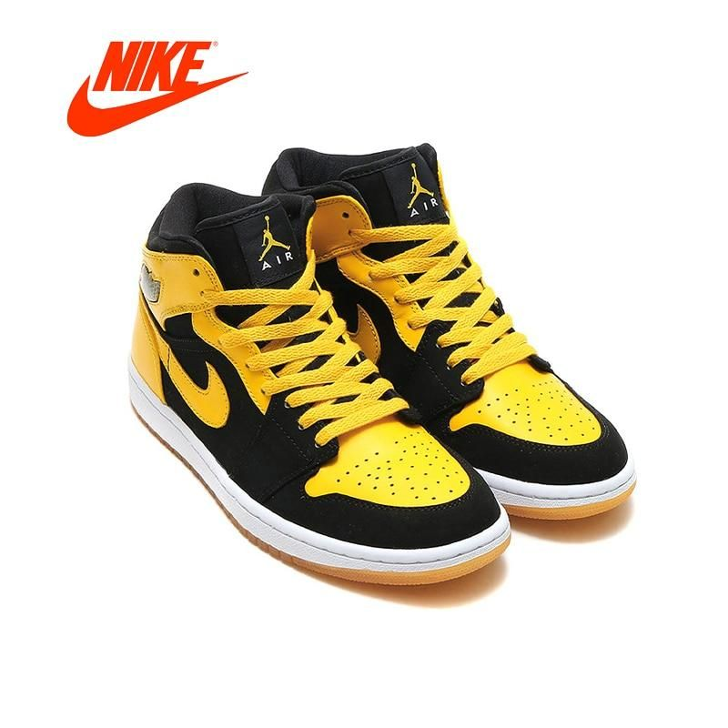 reputable site 91463 5c7d7 Air Jordan 1 Mid Men s Basketball Shoes Original Authentic Nike AJ1 Joe  Non-slip Shoes