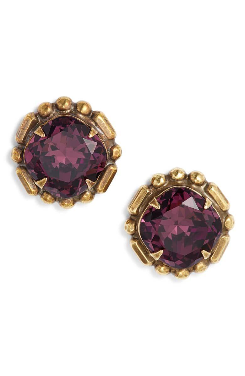 785d55628 Adorned Cushion Stud Earrings, Main, color, PURPLE MULTI | Nordstrom ...