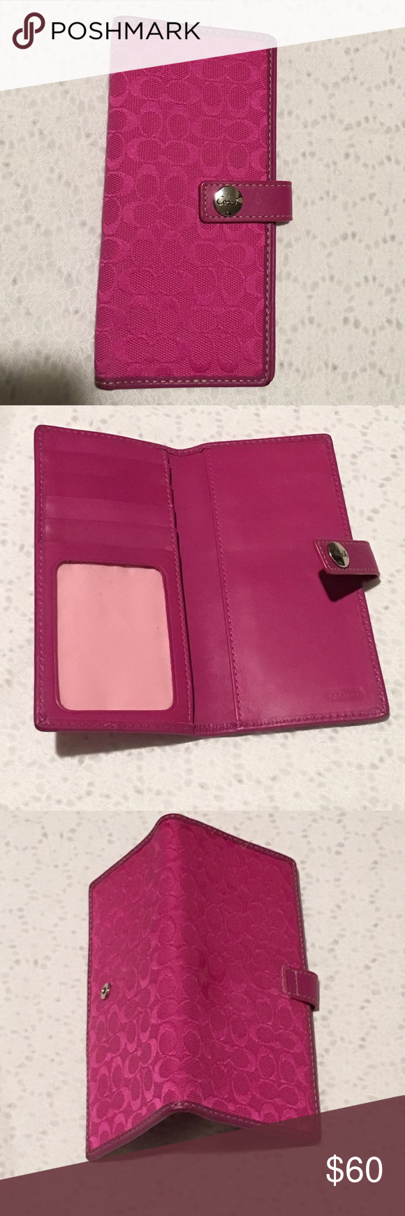 """Authentic Coach """" C"""" Flap Wallet. Like New. Single Fold Coach Wallet. Signature Canvas with small """" C"""" design. With patent leather trim. 4 credit card slots, with 1 clear id slot. Tag Snap Closure. 3.25""""x 6.75"""". Coach Bags Wallets"""