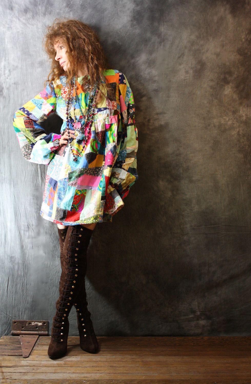 Vintage 1960s Hippie Patchwork Dress | 60s fashion hippie ...