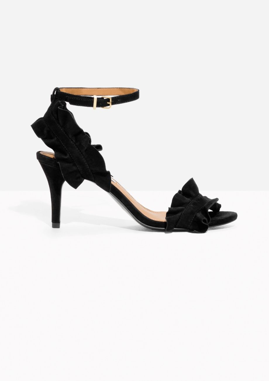 3f49806eb9a Other Stories image 1 of Frill Two-Strap Sandals in Black