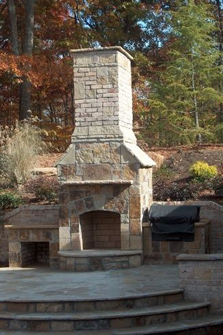 The designs are endless.... An Ashlar cut and brick mix with firewood storage bin and grill enclosure...