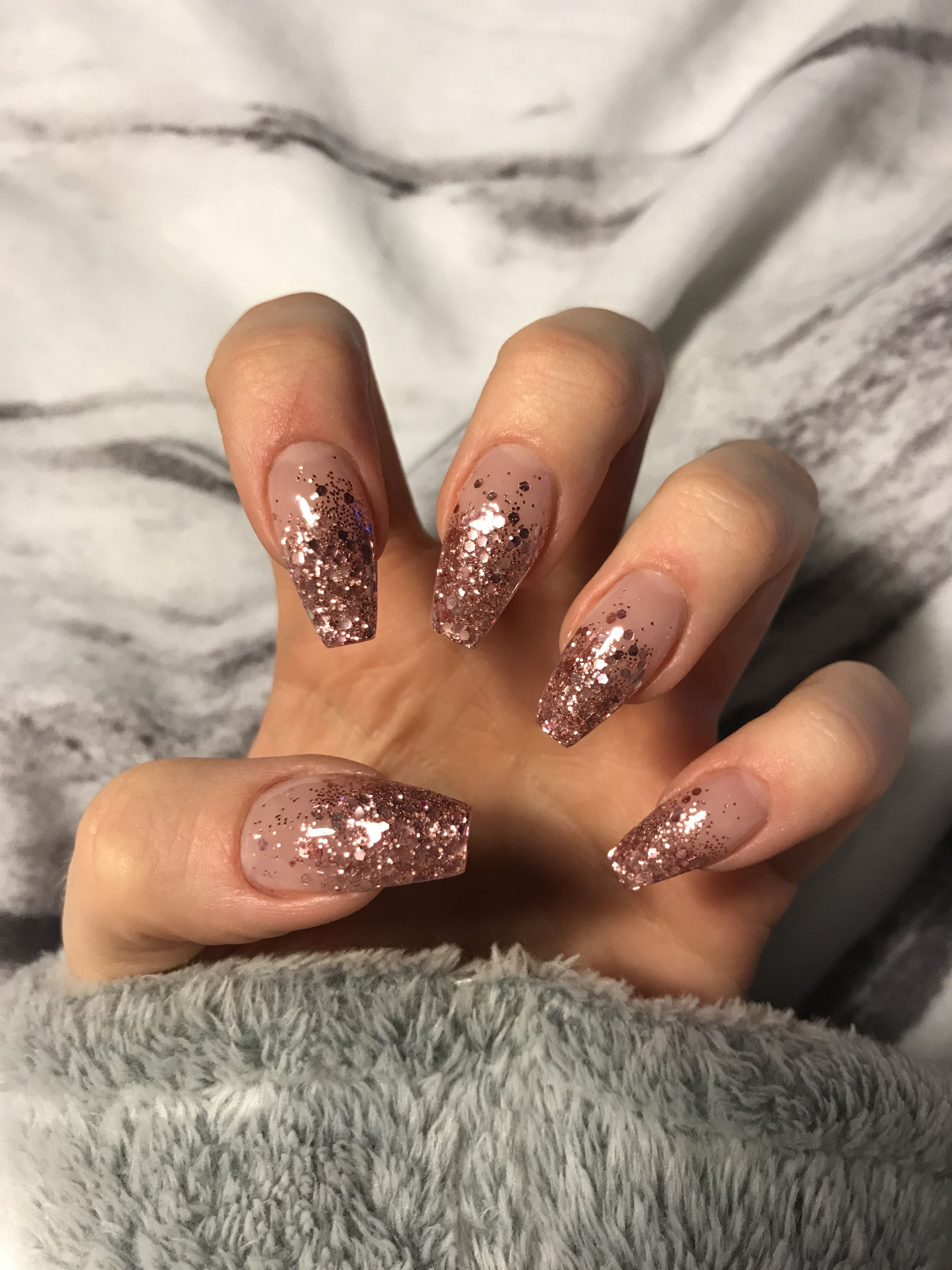 Rose Gold Glitter Ombre Acrylic Coffin Nails Rose Gold Nails Design Nail Designs Glitter Rose Gold Nails Glitter