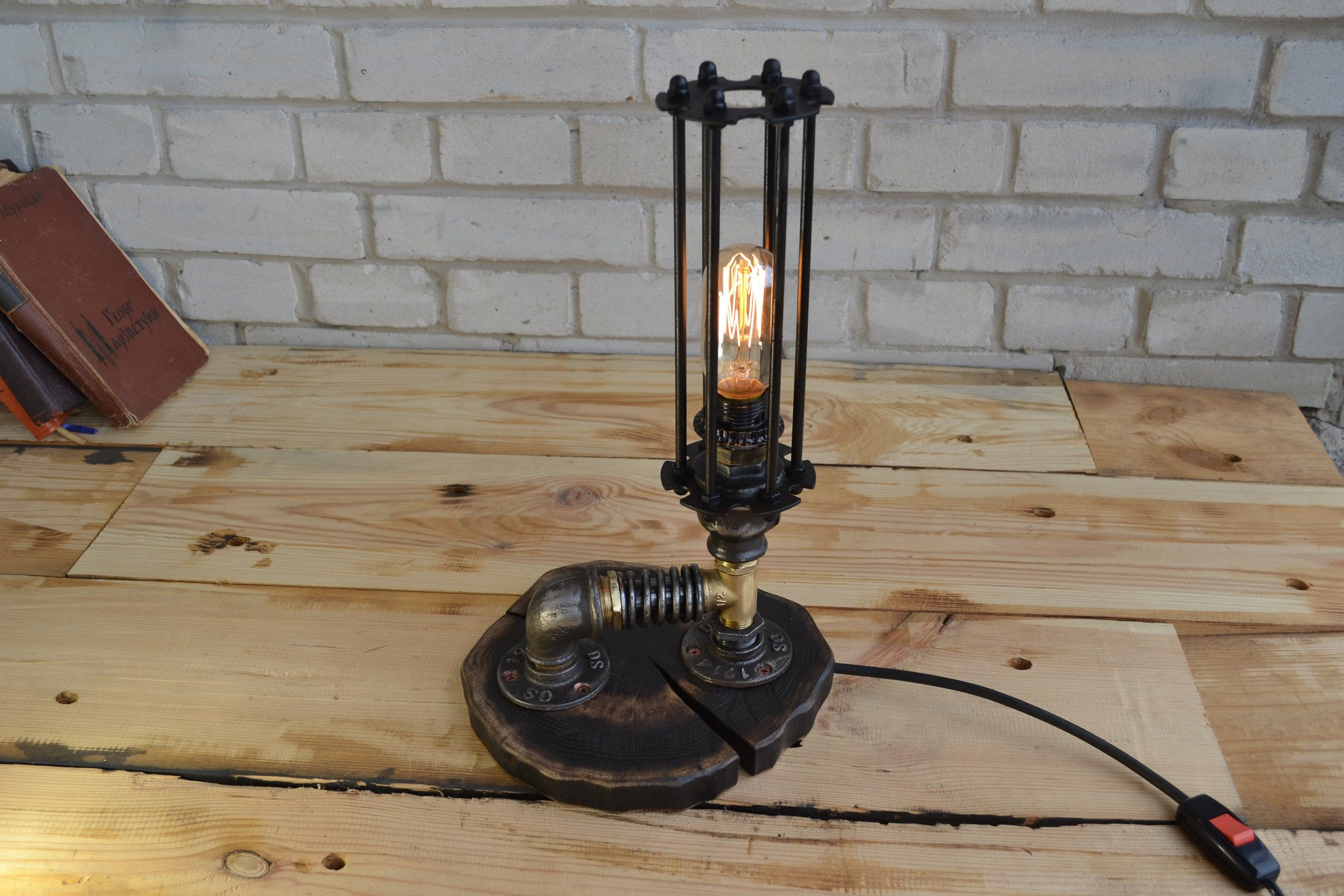 Wooden Lamp In Steampunk Style Table Lamp Gift For Men And Women Rustic Style For Apartment House Bedside Nigh Steampunk Table Lamp Lamp Bedside Night Lamps