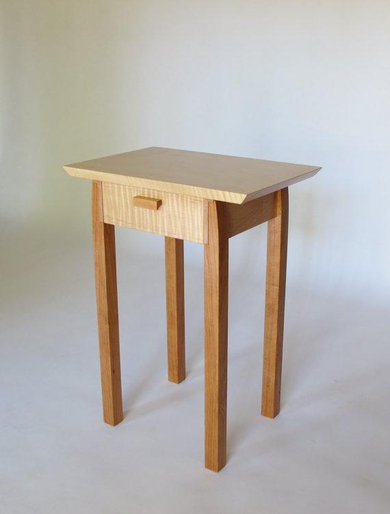 Mesa con cajón: Arce tigre & Cherry estrecha tabla de | Mesas para ...