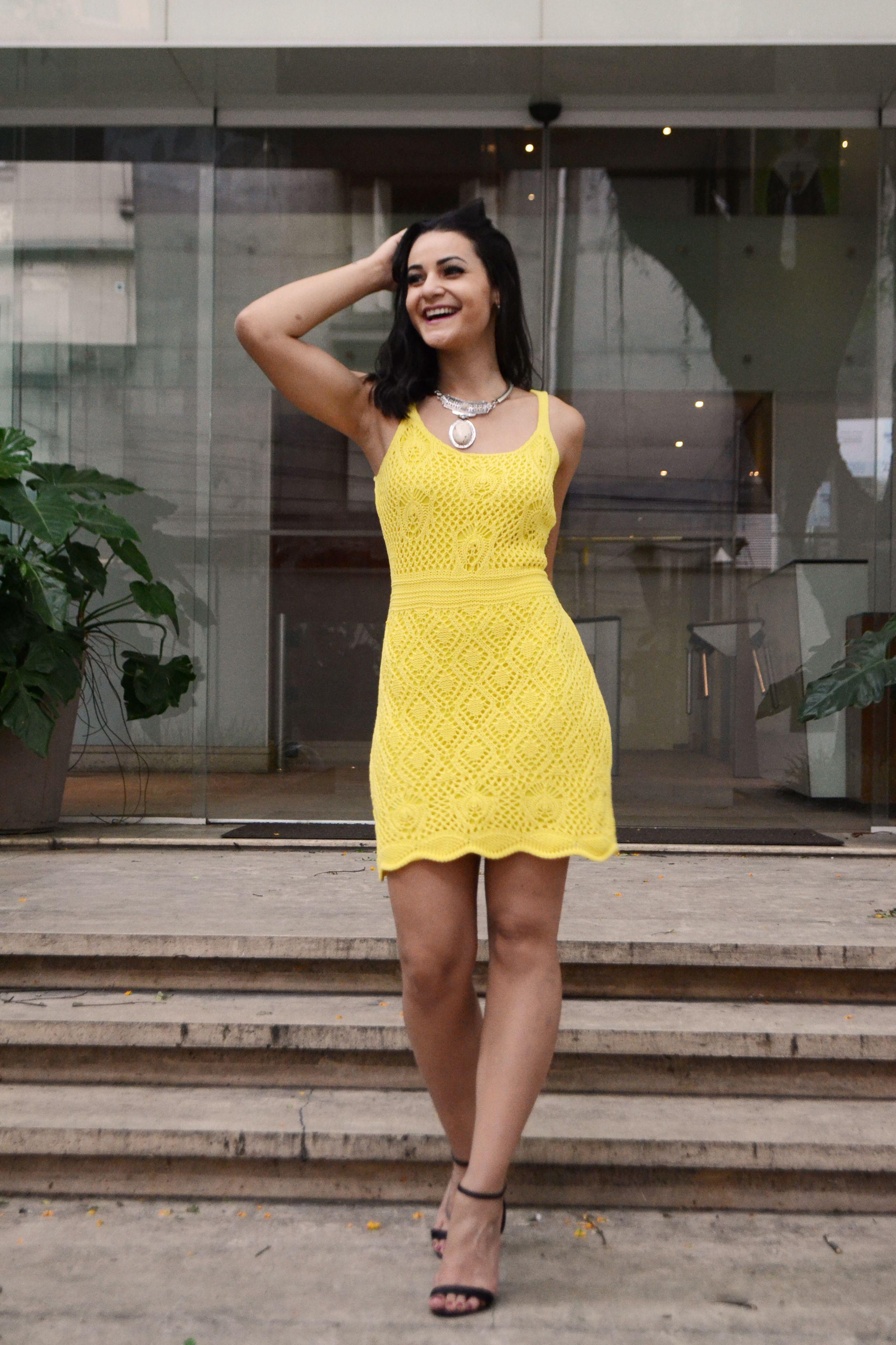 d6a89b6a2 VESTIDO DE CROCHÊ AMARELO- VESTIDO AMARELO PARA O VERÃO- SUMMER- VESTIDO  AMARELO CURTO- vestido do brás- vestido curto amarelo