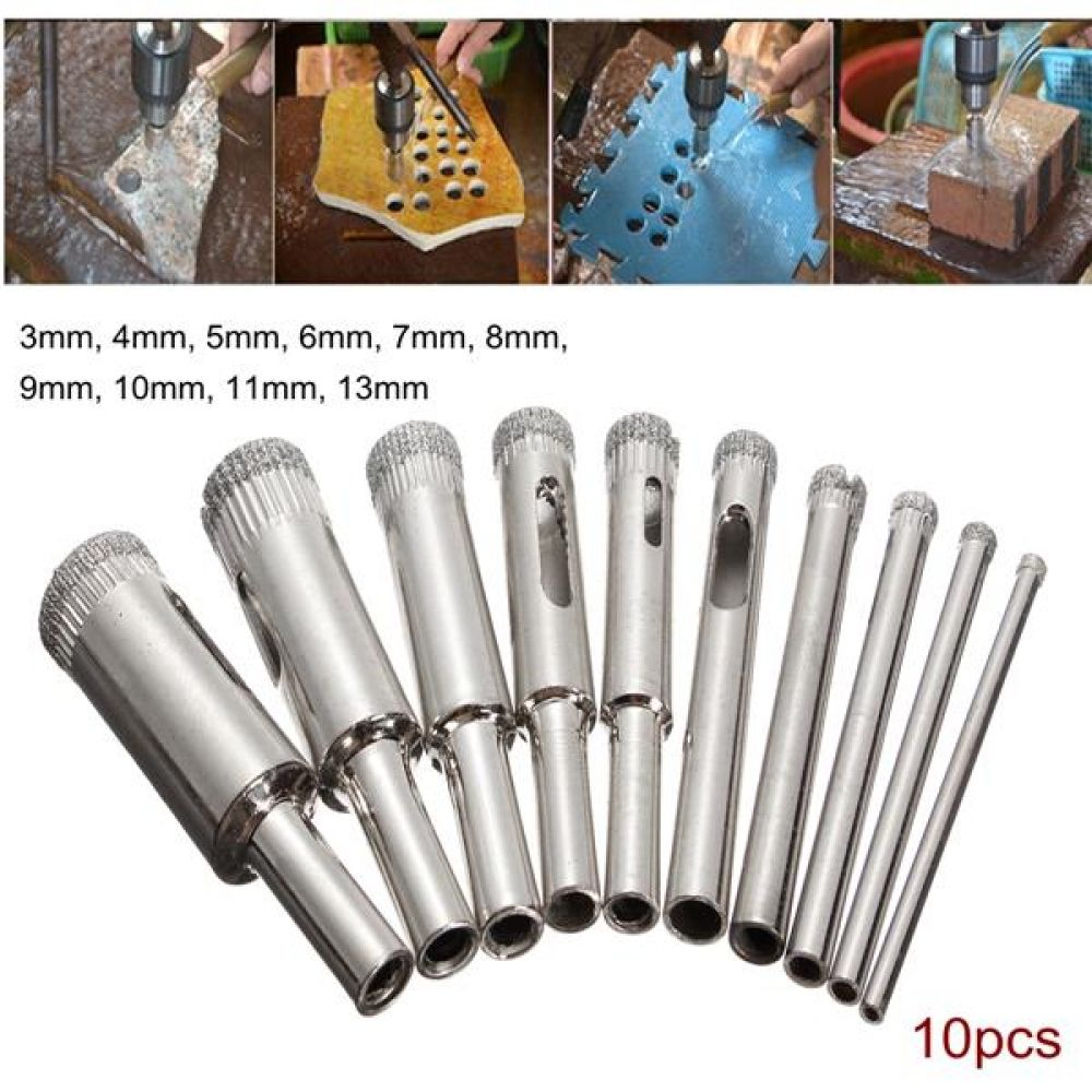 10pcs 10mm Diamond Hole Saw Tile Ceramic Glass Porcelain Marble Drill Bit NEW