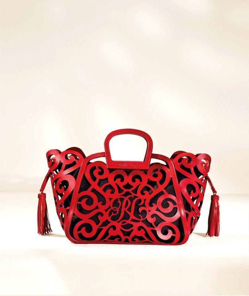 e385a5fc65 Ralph Lauren laser cut leather bag