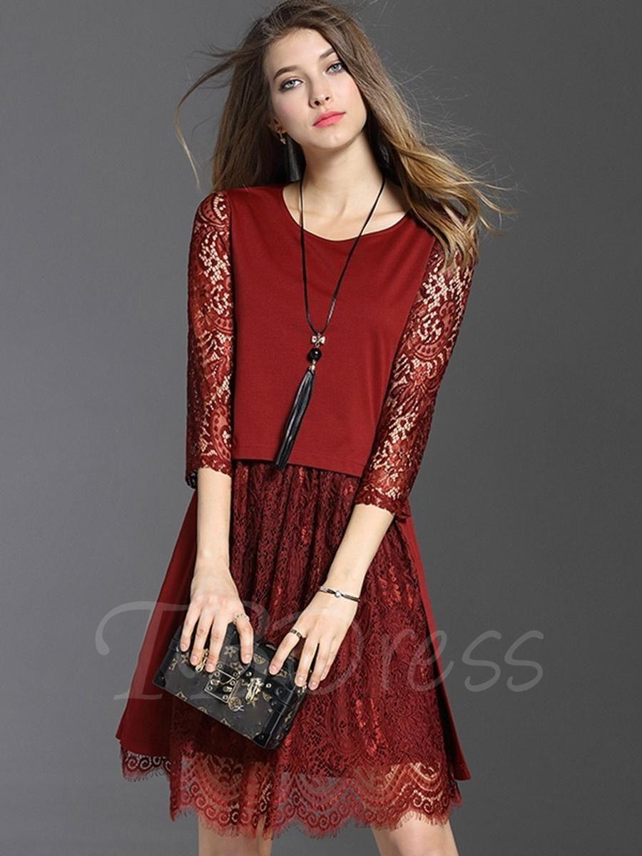 Doublelayered half sleeve womens lace dress lace dress layering