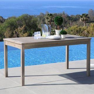 Renaissance Outdoor Hand Scraped Hardwood Rectangular Table (Outdoor  Furniture), Beige, Patio Furniture (Acacia)