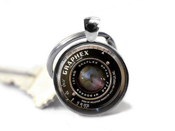 Camera Lens Keychain  Camera Keyring Camera by GirlPowerPendants