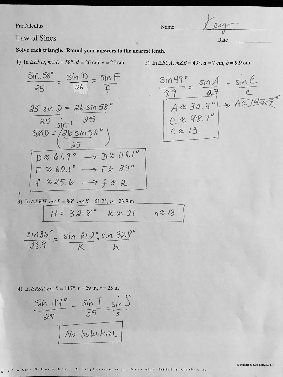 Trigonometric Functions Worksheet Kuta