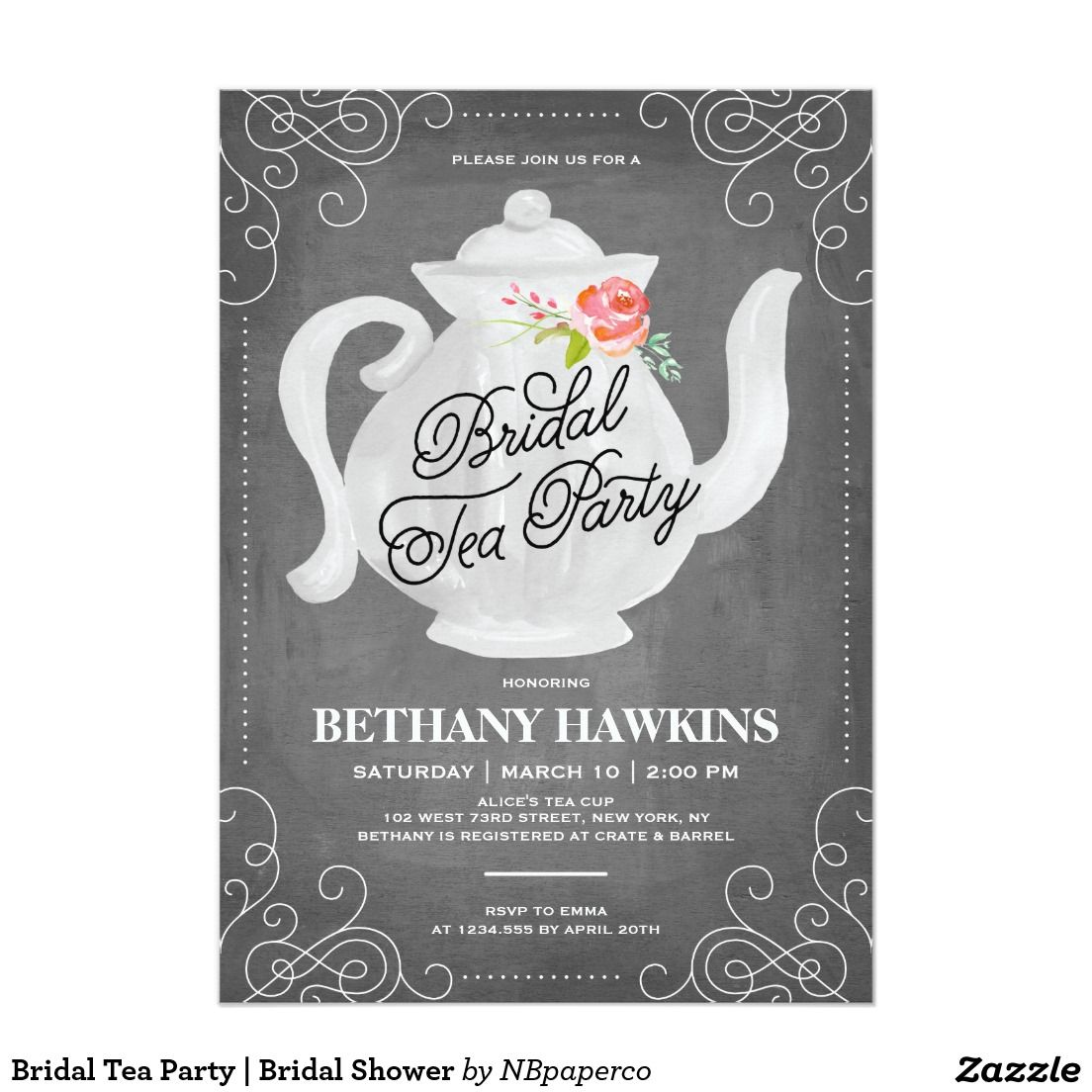 Bridal tea party bridal shower card elegant chalkboard bridal bridal tea party bridal shower card elegant chalkboard bridal shower invitation templates classy filmwisefo Images
