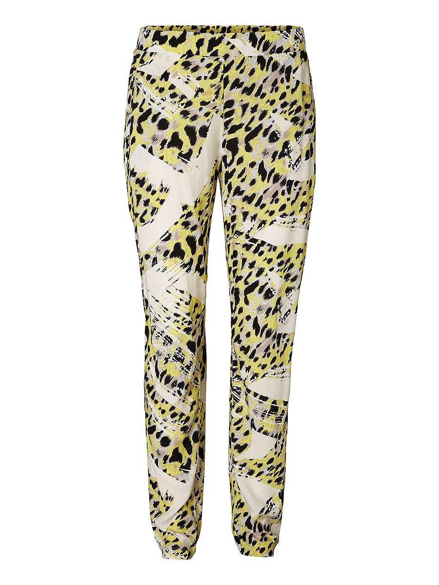 Vero Moda - Lässige Garten-Hose. - Gelber, schwarz-weißer Aufdruck. - Elastischer Taillenbund hinten. 100% Viskose...