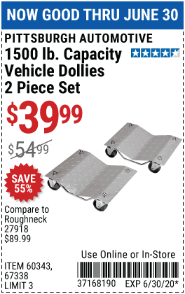 Pittsburgh Automotive 1500 Lb Capacity Vehicle Dollies 2 Pc For 39 99