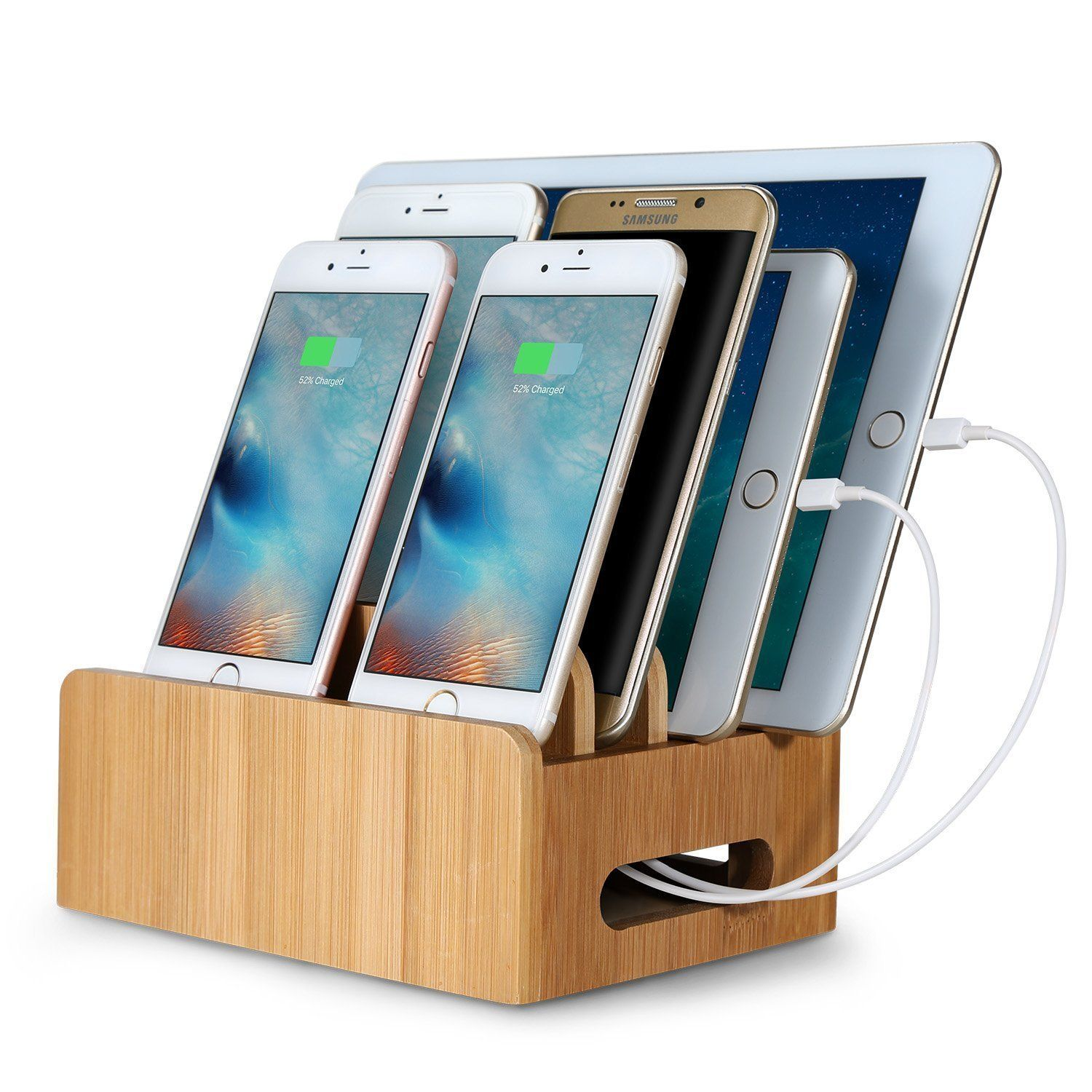 Outtek Bamboo Charging Station Stand Multi Device Cords Organizer Dock Compatible Most