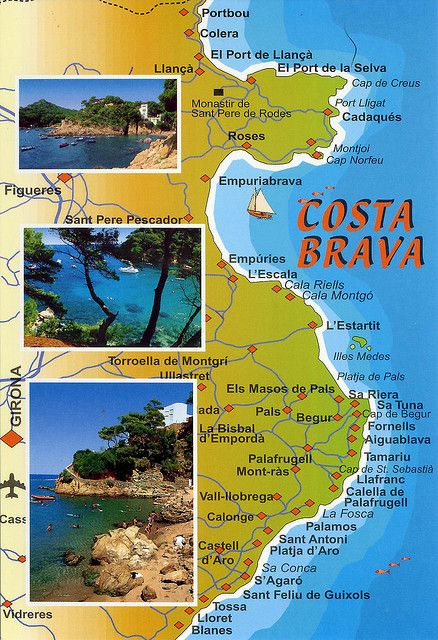 Pueblos De Gerona Mapa.Costa Brava 2 Map Card 3 For Trade In 2019 Spain Travel